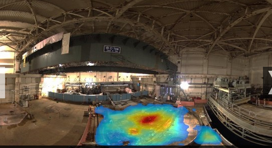 クレアテック社の技術で記録された福島原発建屋内の放射線濃度のマップ(http://www.ft.com/より)