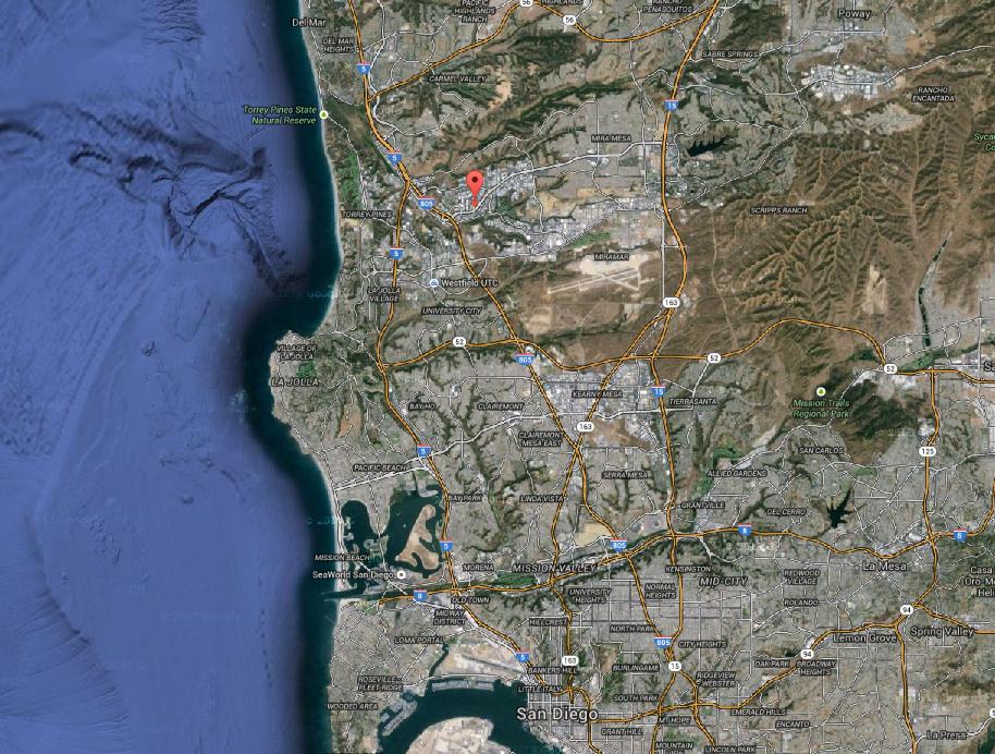 サンディエゴ北部にあるクアルコム本社(赤印)。サンディエゴの南にメキシコとの国境がある(グーグル・マップより)