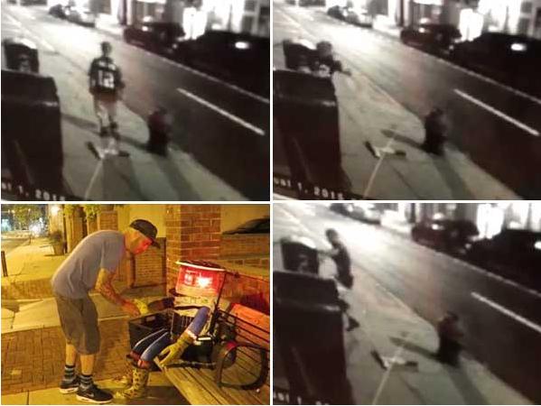 左下は、最後にヒッチボットが目撃された風景。ビデオは、男性が何かを踏みつけたり、ヒッチボットのアームに見えるようなものを投げているところが写っている。(http://www.philly.com/より)