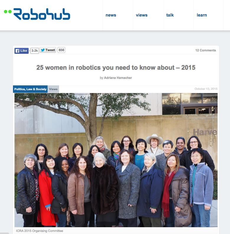 ICRA2015の組織委員会は、全員女性だった(www.robohub.orgより)