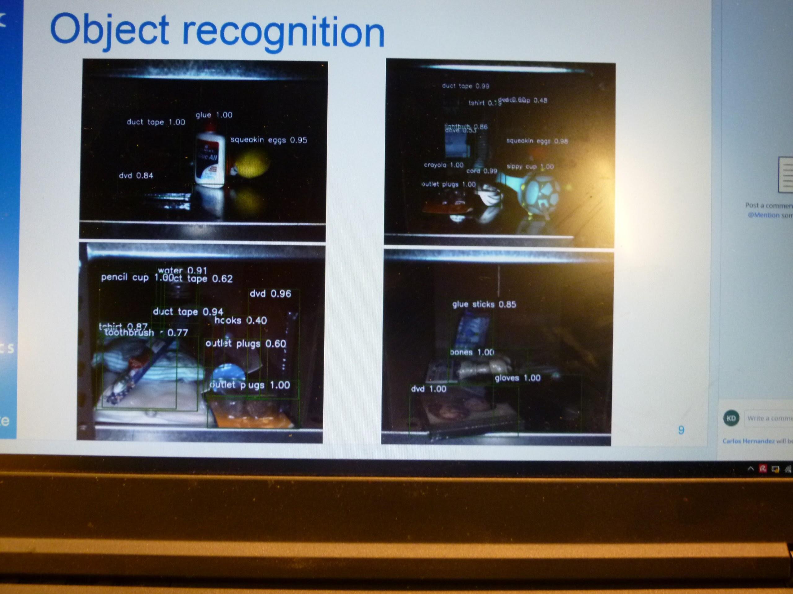 深層学習技術を用いて、アイテムを特定する、という説明で見せてもらった画面