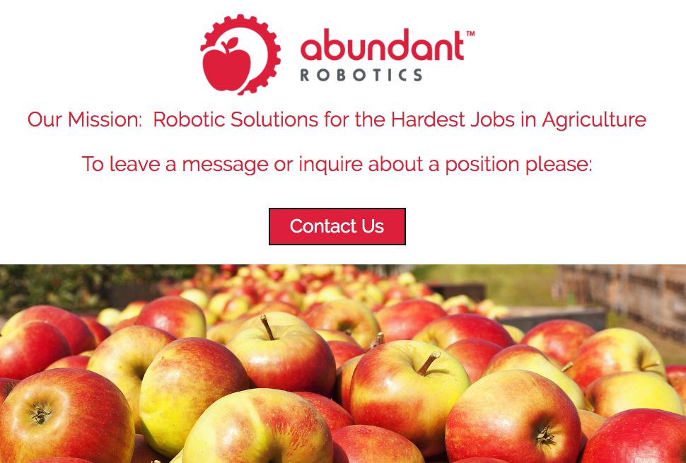 ロボットのかたちはまだわかりません。(http://www.abundantrobotics.com/より)