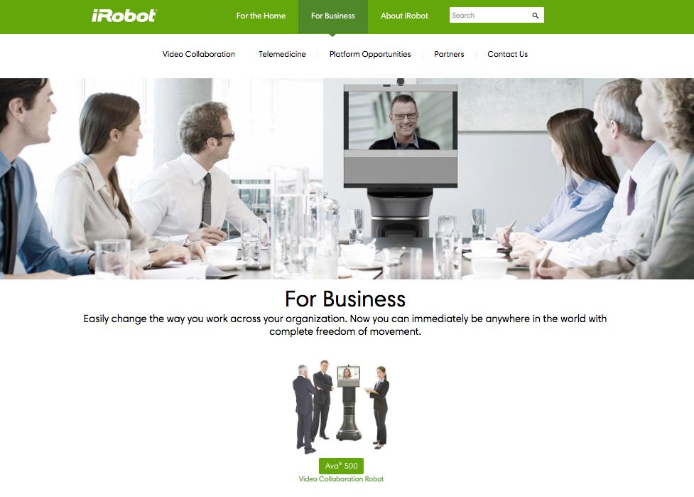 アイロボットのサイトには、またビジネス向け製品が掲載されているが。(http://www.irobot.com/)